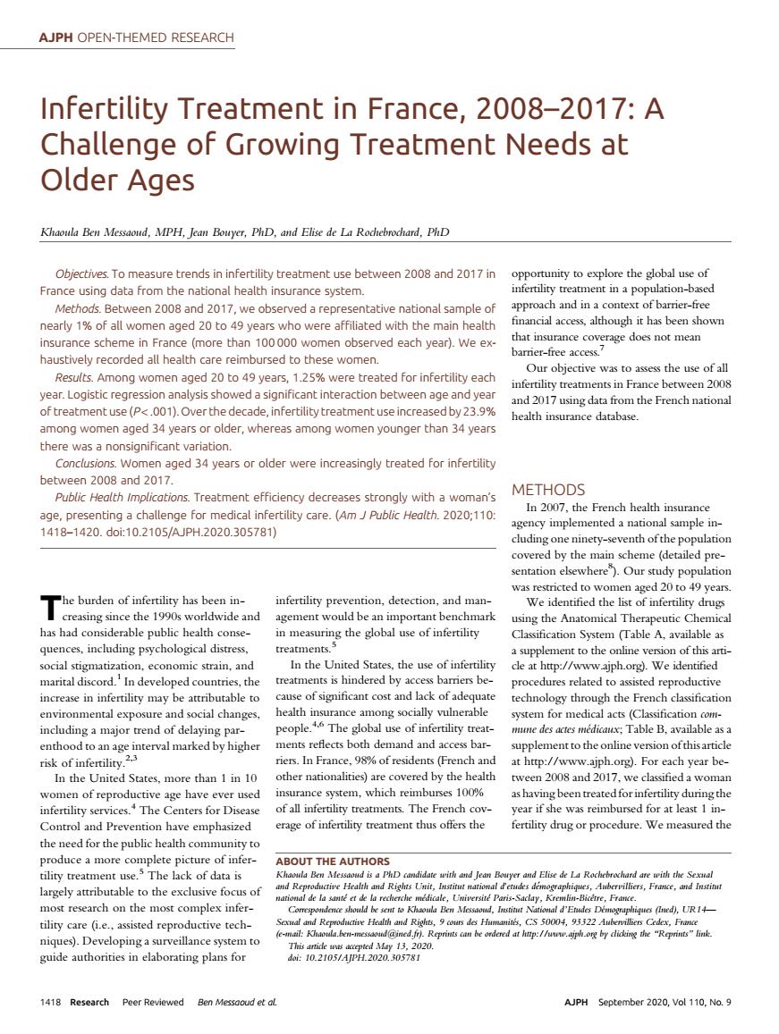 Article StimHo dans Am J Public Health (2020) en libre accès